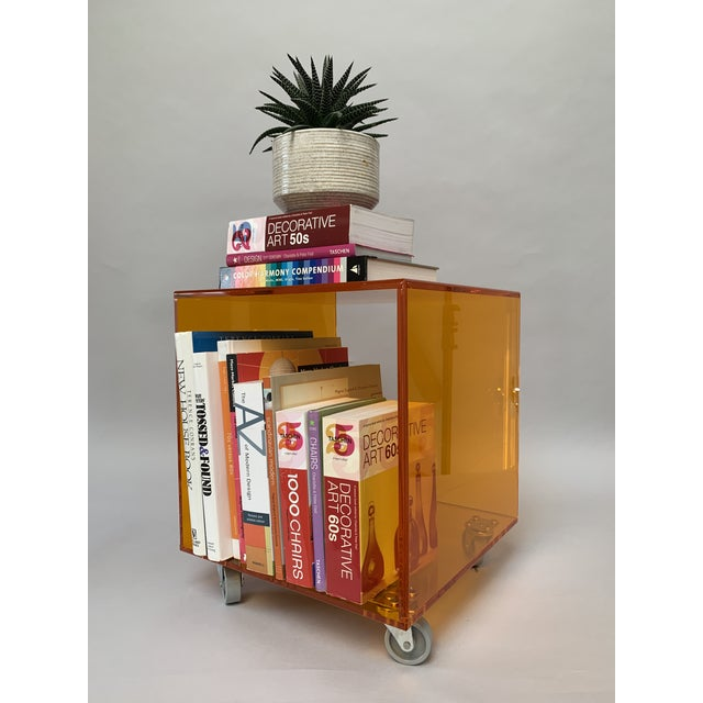 1990s Modern Translucent Orange Lucite Rolling Storage Cube/Side Table on Wheels For Sale - Image 9 of 11