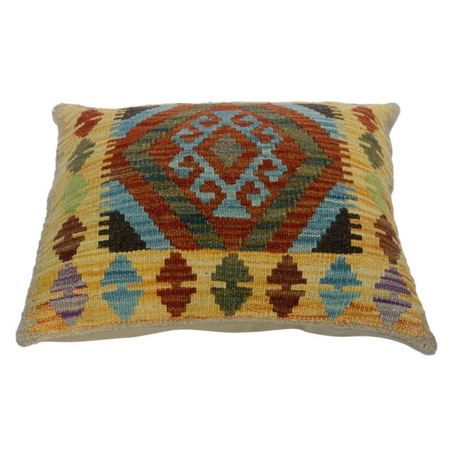 """Christen Gold/Lt. Blue Hand-Woven Kilim Throw Pillow(18""""x18"""") For Sale - Image 4 of 6"""