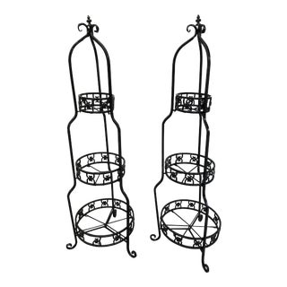 Mid 20th Century Tiered Metal Garden Etageres - a Pair For Sale