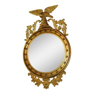 Early 19c Federal Eagle Wood & Gesso Gilded Convex Mirror