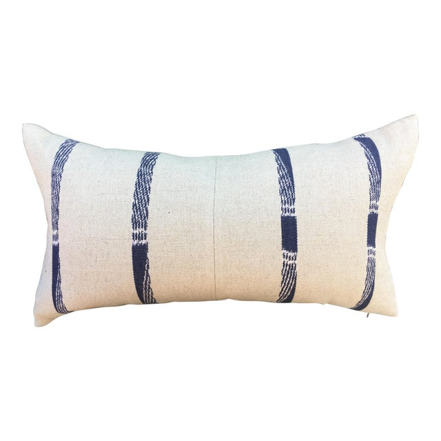 Hand Woven Pillow With Indigo Stripes For Sale