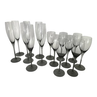 Crystal Champagne Flutes - Set of 15 For Sale