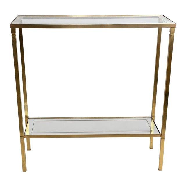 Mastercraft Style Brass Console Table For Sale