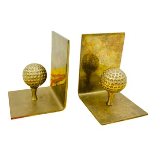 Pair Vintage Brass Golf Bookends For Sale
