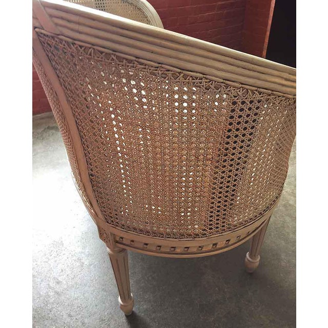 1980s Late 20th Century White Caned Settee For Sale - Image 5 of 10