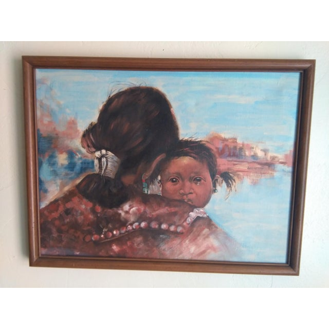 Native American Woman & Child Mid-Century Western Painting For Sale - Image 5 of 5