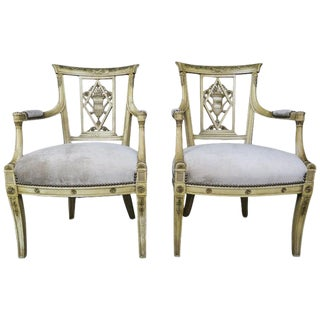 Pair of 1930s Italian Neoclassical Painted Armchairs W/ Urns For Sale