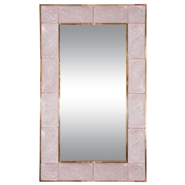 2010s Pink Textured Glass Surround Mirror from Italy For Sale - Image 5 of 5