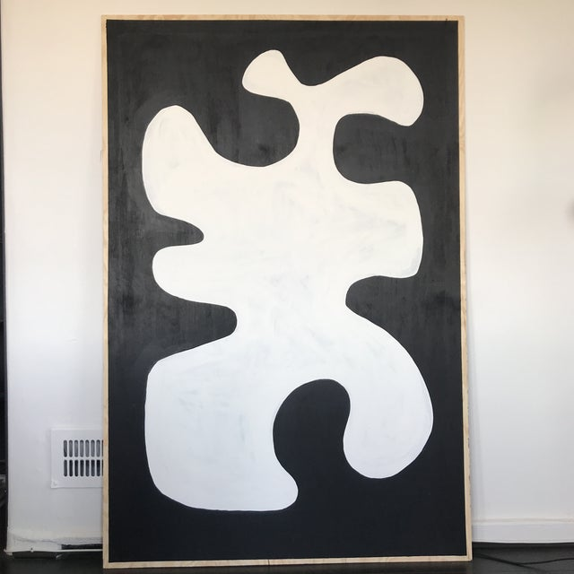 Black & White Oversized Abstract Painting - Image 9 of 9