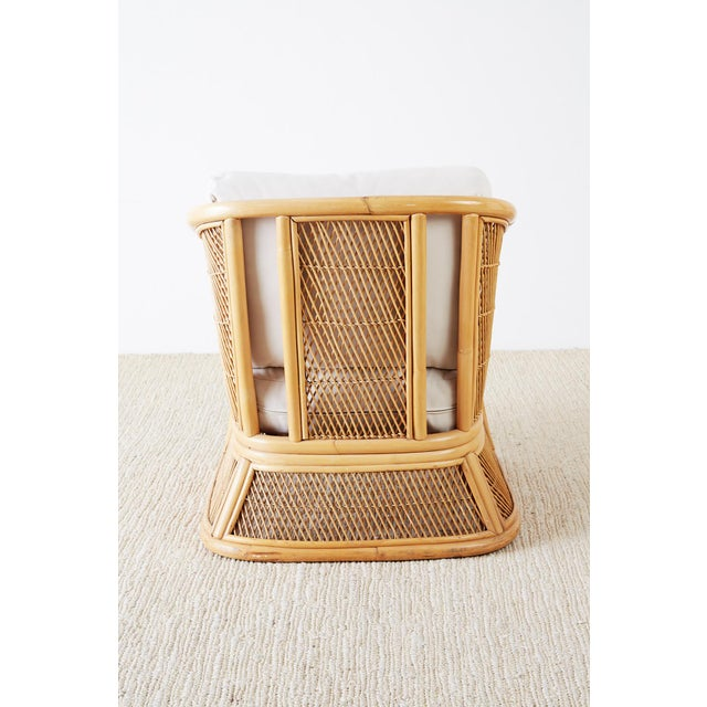 Midcentury Bamboo Rattan Wicker Lounge Chair For Sale - Image 12 of 13