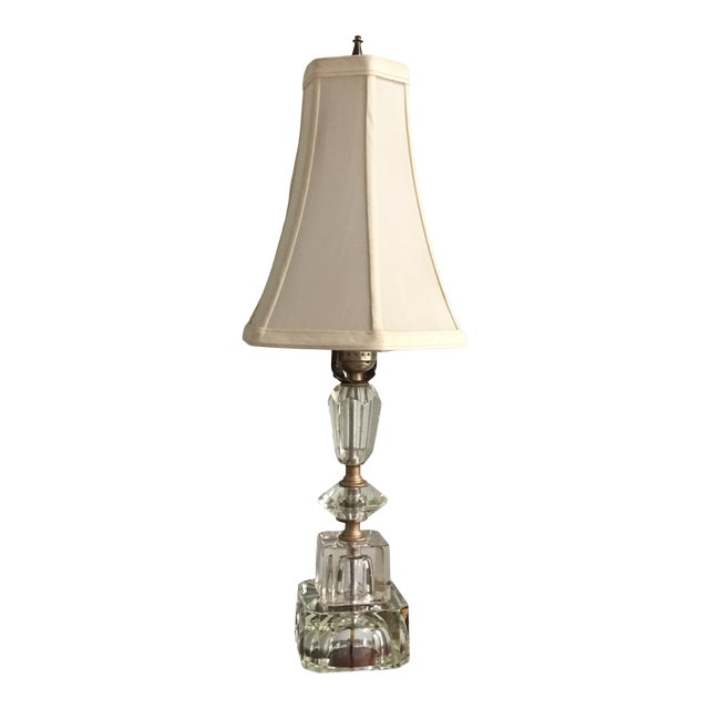 Vintage Hollywood Regency Stacked Crystal Lamp With Shade For Sale