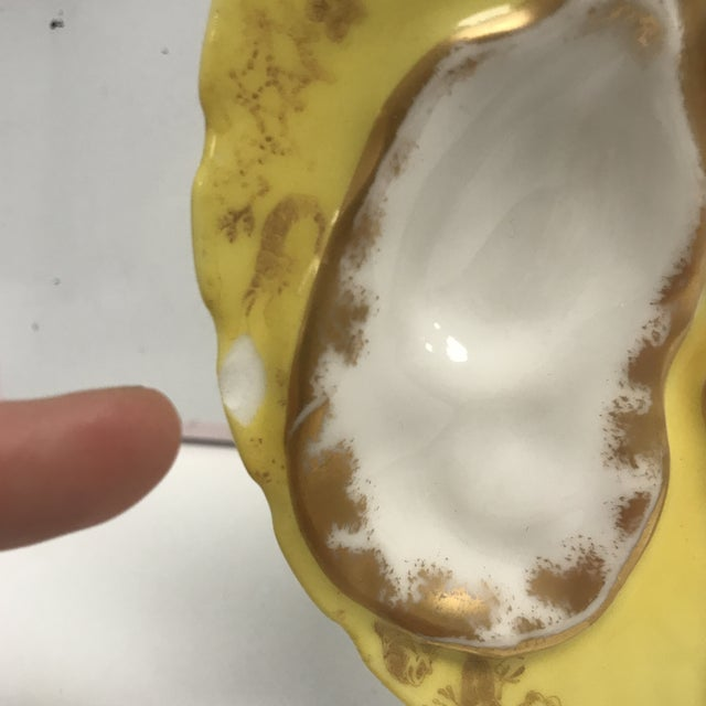 Limoges, France 1920s Vintage Yellow Limoges Oyster Plate For Sale - Image 4 of 7