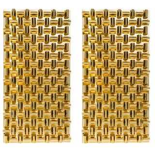 Pair of Cubist Wall Sculptures With Faceted Brass Metalwork