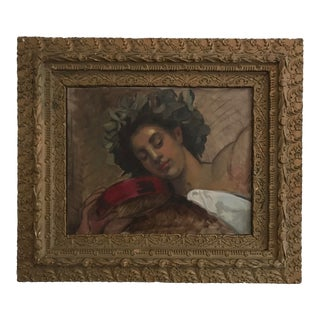 Vintage 1920s Woman Portrait Framed Oil Painting For Sale