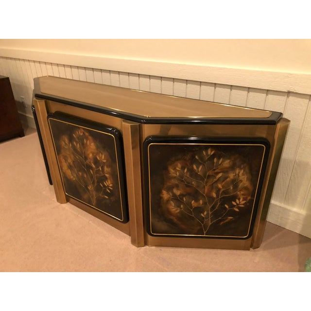 Asian Bernhard Rohne for Mastercraft Tree of Life Solid Brass and Black Lacquer Credenza For Sale - Image 3 of 7