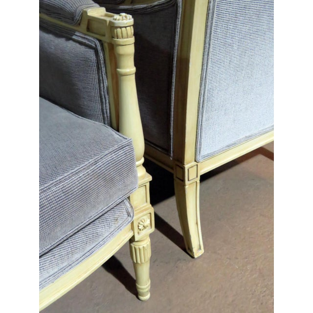 Wood Directoire Style Upholstered Bergeres - a Pair For Sale - Image 7 of 12