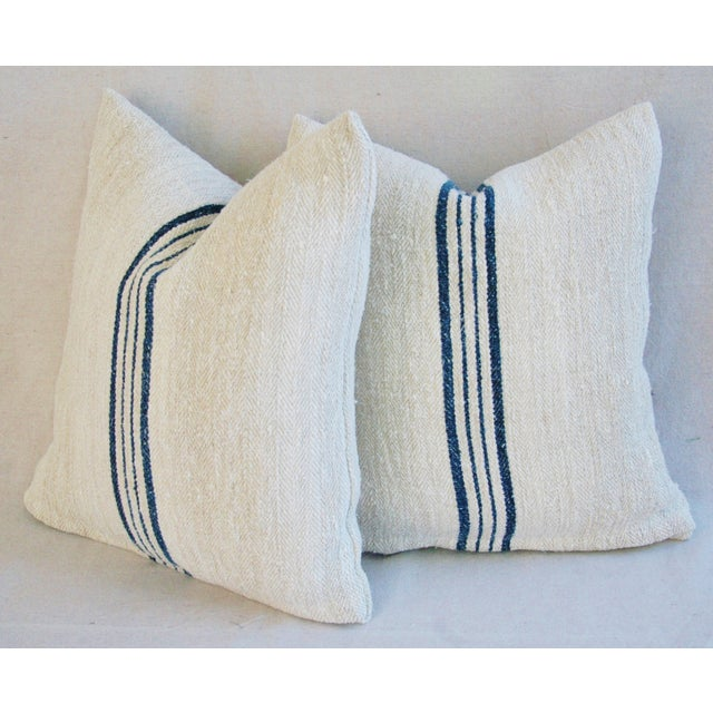 Blue Striped French Grain Sack Pillows - A Pair - Image 11 of 11