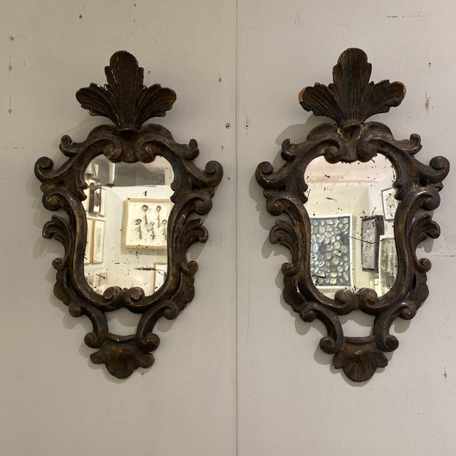 Traditional Vintage Wooden Shield Mirrors - a Pair For Sale - Image 3 of 11