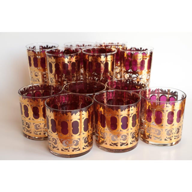 Culver Cranberry Scroll Highball and Lowball Glasses - Set of 12 - Image 9 of 9