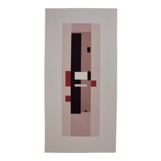 "Oversized (37.5"") Abstract Rectilinear Silkscreen in Pink For Sale"