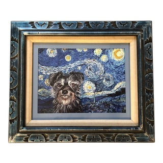 Terrier Dog Starry Night Print by Judy Henn For Sale