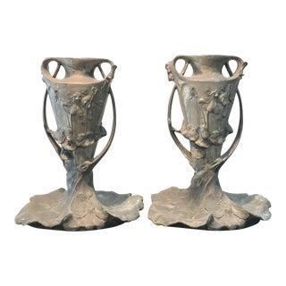 French Art Nouveau Pewter Vases -Pair For Sale