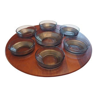 1960s Digsmed Denmark Lazy Susan Smoke Glass Bowls & Teak Serving Tray - Set of 8 For Sale