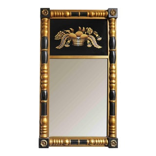 Mid 20th Century Federal Style Gold and Black Mirror With Stenciled Glass For Sale