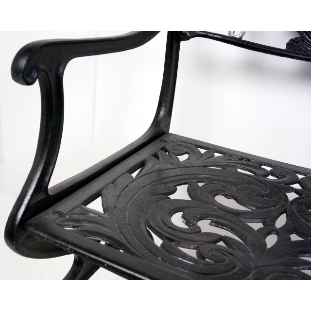 Cast Aluminium Seahorse and Shell Motif Garden Settee by Molla, 1950s For Sale - Image 9 of 11