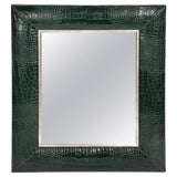 Image of Hunter Green Classic Crocodile Leather Framed Mirror For Sale