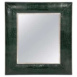 Hunter Green Classic Crocodile Leather Framed Mirror For Sale
