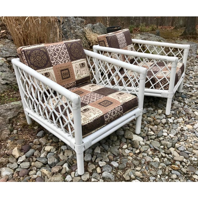 Willow and Reed Vintage Willow & Reed Rattan Arm Chairs - A Pair For Sale - Image 4 of 11