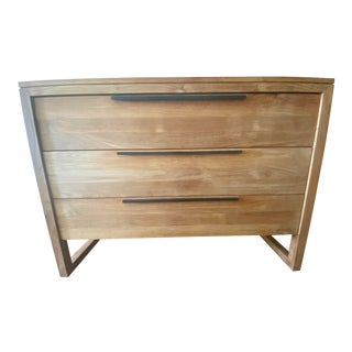 Crate and Barrel Linea II Natural Three-Drawer Chest For Sale