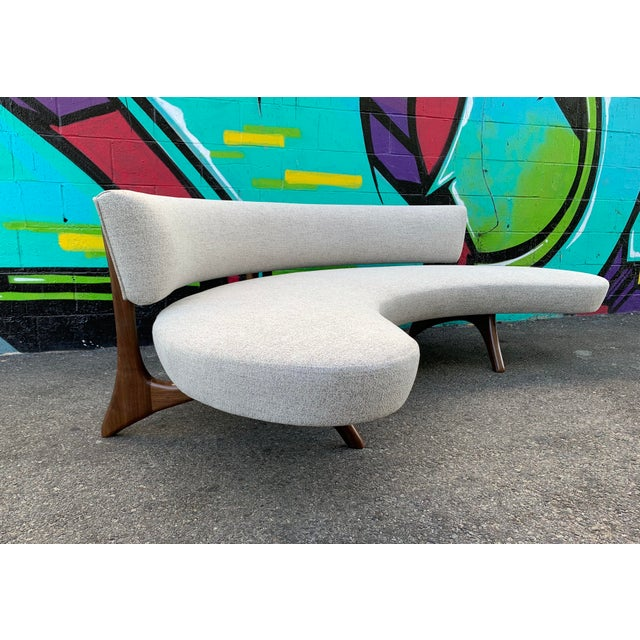 Wood Attributed Vladimir Kagan Floating Curved Sofa For Sale - Image 7 of 7