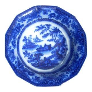 Flow Blue Wash Bowl For Sale