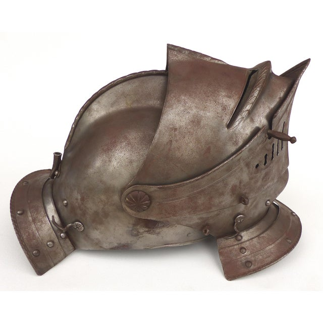 Metal Antique Steel Jousting Presentation Helmut From Ibm Ceo Jacques Maisonrouge For Sale - Image 7 of 13