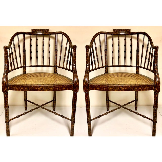 Baker Furniture Faux Tortoise Barrel Back Chairs-Pair For Sale - Image 9 of 9
