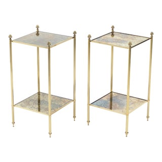 French Maison Jansen Brass Mirrored Two-Tier End Tables - a Pair For Sale