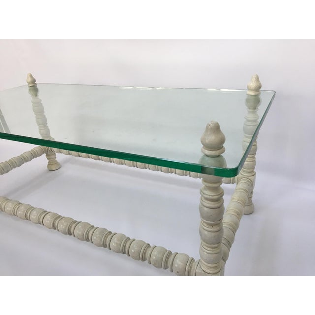 Hollywood Regency Wood & Glass Bobbin Leg Coffee Table - Image 6 of 6