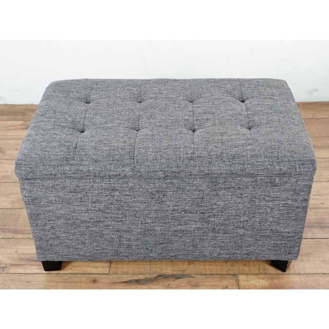 Contemporary Tainoki Gray Upholstered Button Tufted Ottoman For Sale - Image 10 of 10