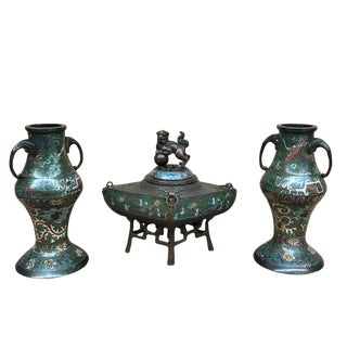 19th Century Japanese Cloissone 3 Piece Mantel Set For Sale