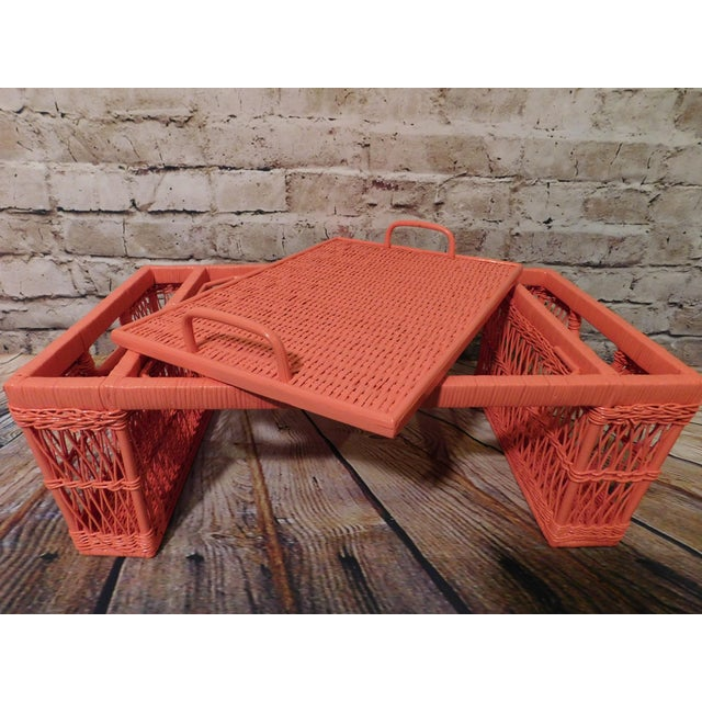 Vintage Coral Painted Wicker Bed Tray - Image 3 of 7