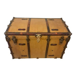Early 1900s Canvas Travel Trunk For Sale