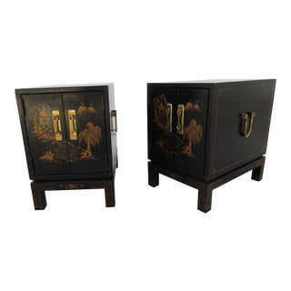 Chinoiserie / Campaign Style Nightstands or End Tables For Sale