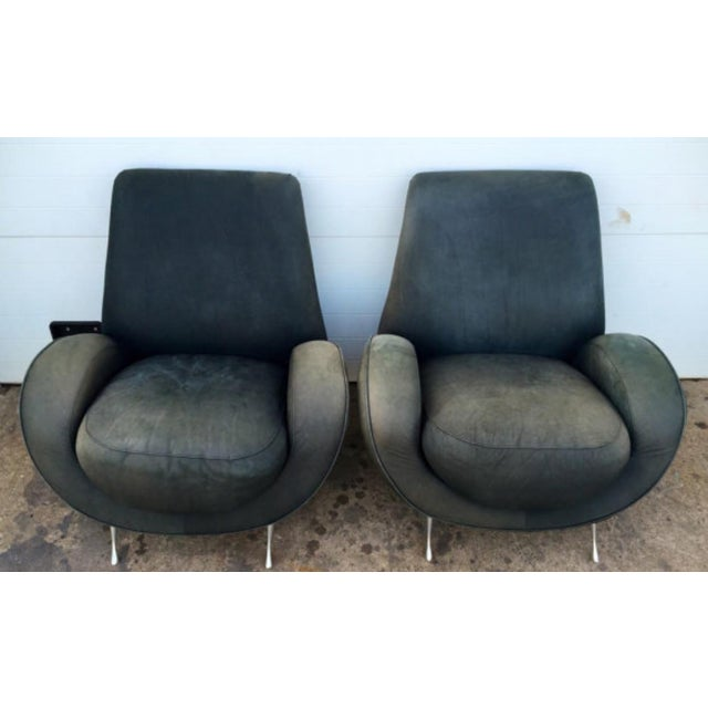 American Leather Distressed Modern Lounge Chairs - A Pair - Image 4 of 6