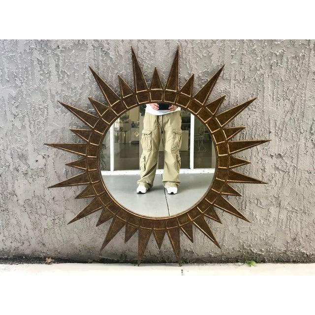 1970s Gilt Metal Starburst Mirror For Sale - Image 5 of 5