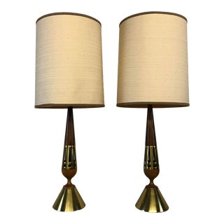 Tony Paul Walnut and Brass Lamps for Westwood Lighting - a Pair For Sale
