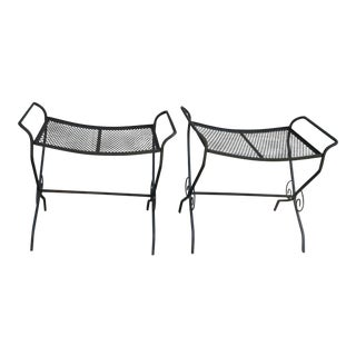 1960s Vintage Wrought Iron Stools- a Pair For Sale