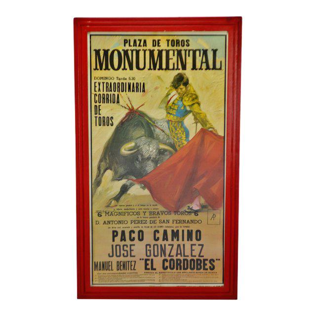 Vintage Framed 1971 Spanish Bullfight Running of the Bulls Lithograph For Sale