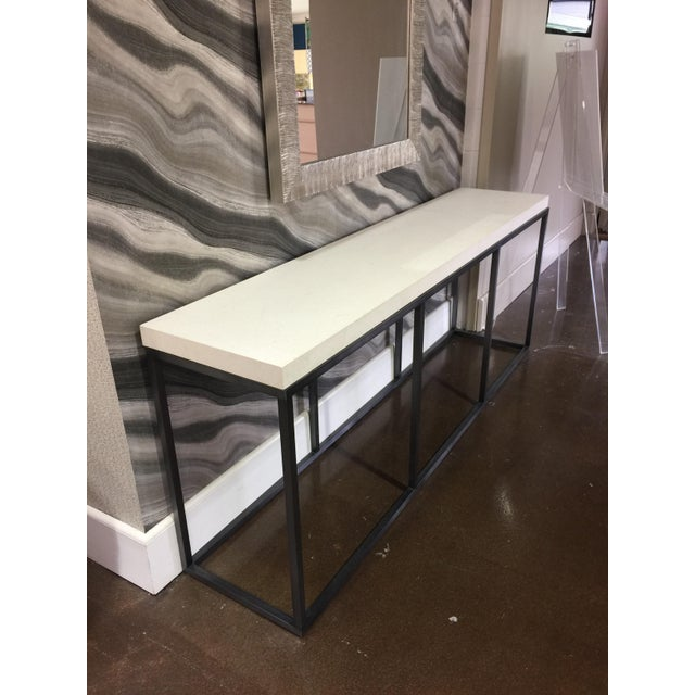 Early 21st Century Limestone Topped and Ebonized Axel Console Table For Sale - Image 5 of 5